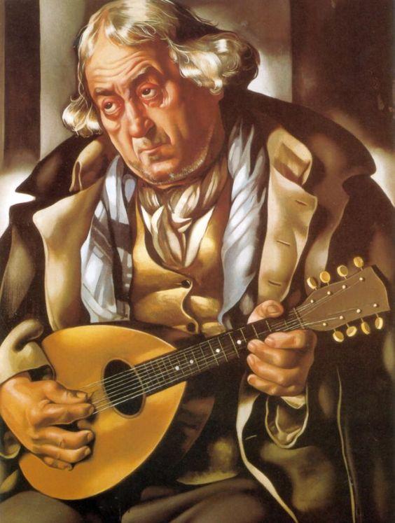 Old Man with Guitar, by Tamara de Lempicka (1935)