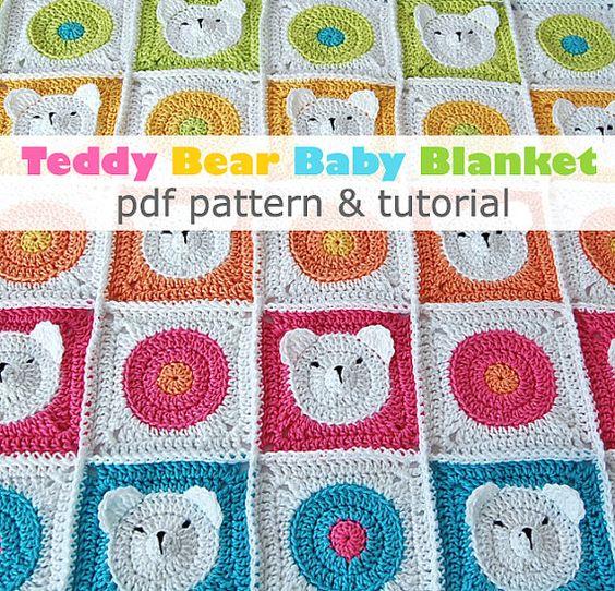 Doudou ours en peluche au crochet pdf motif tutoriel tape par tape crochet b b - Carre crochet pour couverture bebe ...
