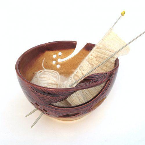 Chestnut Brown Unusually LARGE Handmade Pottery Yarn Bowl