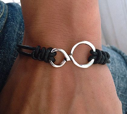 Men's Bracelet, Black Leather with Hammered Silver Infinity Bracelet, Wedding Day, Anniversary, Birthday Gift, Adjustable wish bracelet by pier7craft on Etsy https://www.etsy.com/listing/109480667/mens-bracelet-black-leather-with