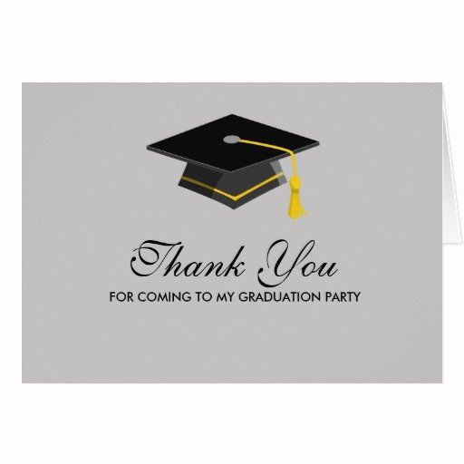 Graduation Party Thank You Cards Unique Black Cap Graduation Thank You Note Card