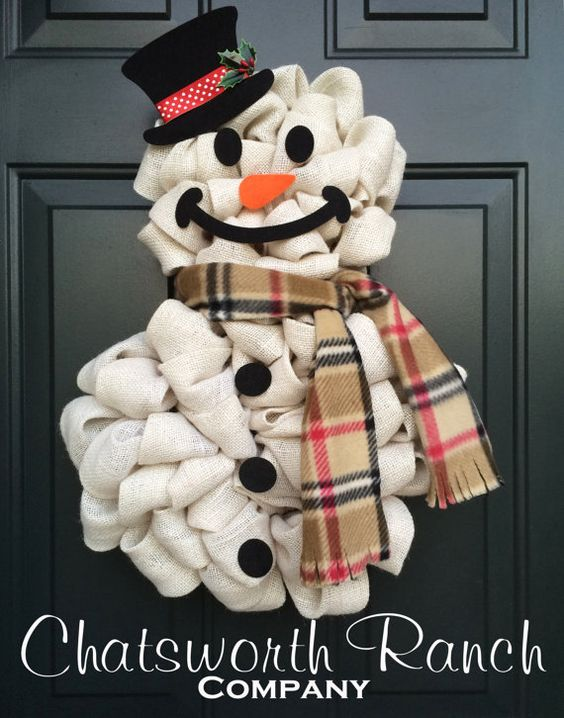 The original snowman wreath christmas holiday burlap for Snowman made out of burlap