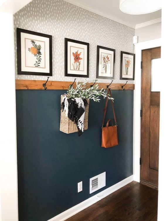 It's like grays and woods, but it also looks like blues and oranges. I like the flower prints.