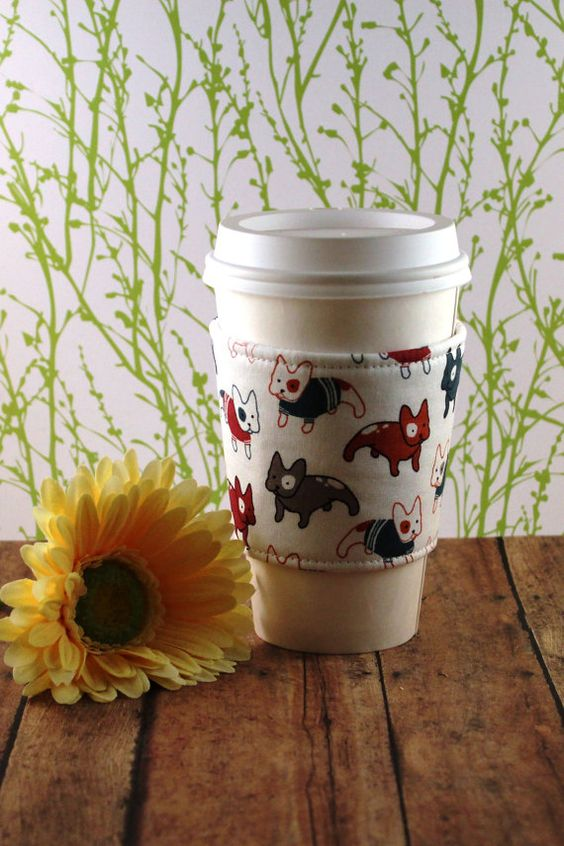 French Bulldogs Coffee Cozy Dog Coffee Cozy by SewLoveToSew