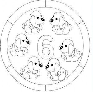 number 6 mandala coloring: