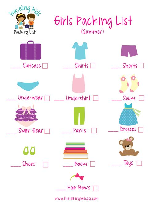 Kids Packing List {Free Printable} - packing checklist template