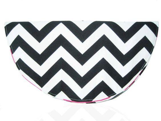 Black White & Pink Chevron Clutch by JetSetCoco on Etsy, $60.00
