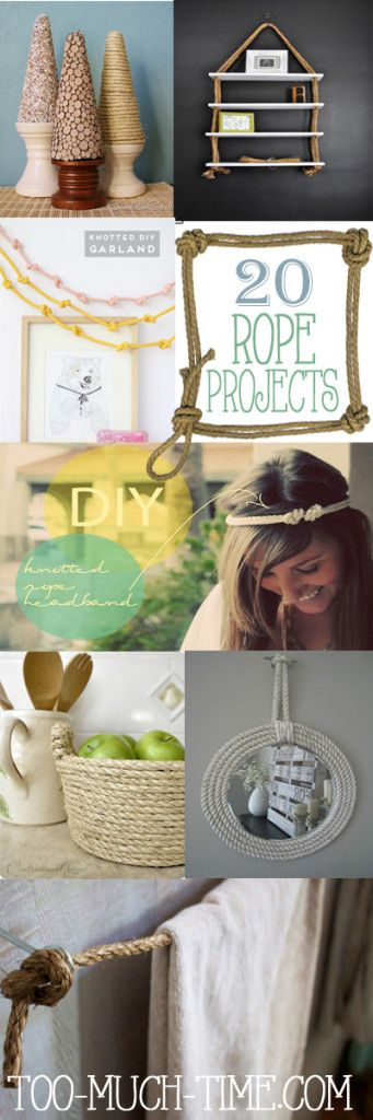 20 creative, thrifty, and easy ways to use rope in your crafts and home projects: