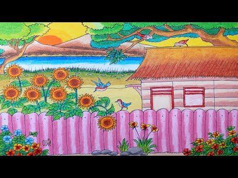 Cara Menggambar Bunga Matahari Dan Pemandangan Dengan Crayon Oil Pastel Cara Menggambar Menggambar Bunga Pastel