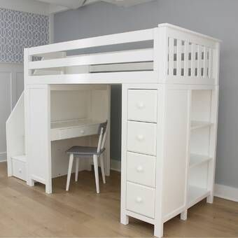 Ayres Twin Loft Bed With Drawers And Shelves With Images Kids