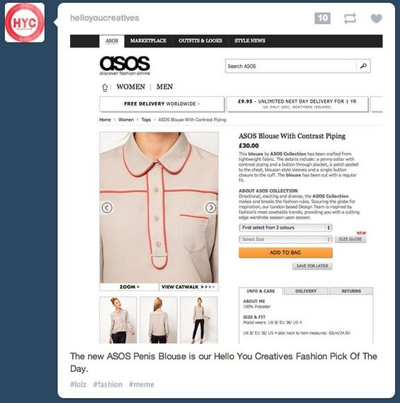 Penis blouse by ASOS