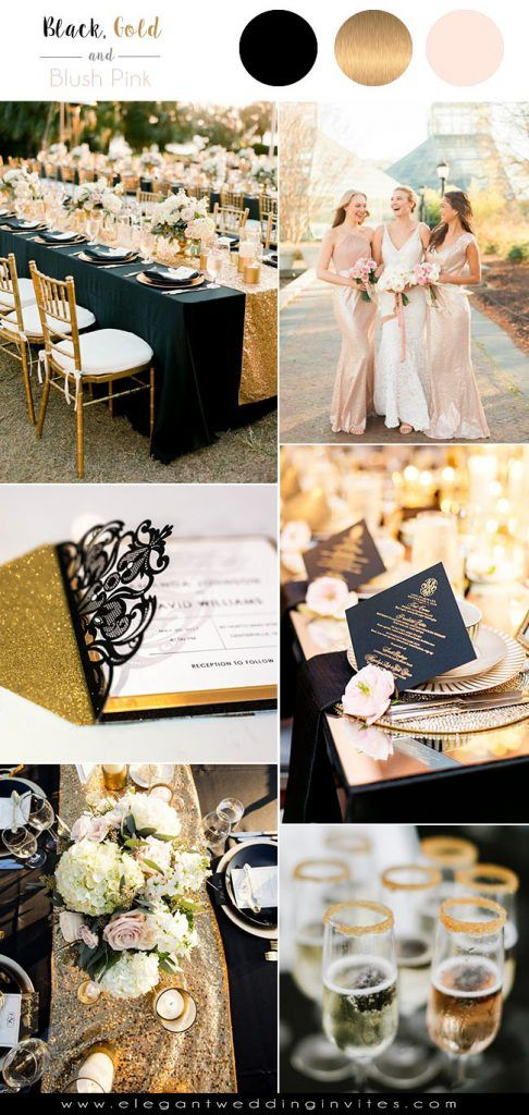 7 Classic Metallic Theme Wedding Colors With Glittery Invitations Ideas Elegantweddinginvites Com Blog Black Gold Wedding Black Wedding Themes Wedding Color Schemes Gold
