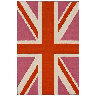 Posh Union Jack Bubble Gum Wool Hand Hooked Rug #laylagrayce