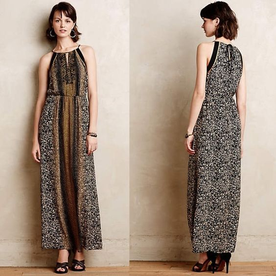 Anthropologie Embellished Silk Maxi Dress Gorgeous beaded silk maxi dress, with back cutout in perfect condition! Inside label lightly marked to prevent store returns. Held onto this for a bit, but the chest area is still just a little too small for me! By Greylin Anthropologie Dresses Maxi