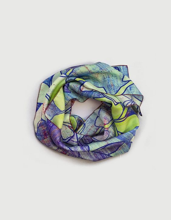 Blue silk scarf, lighweight long plumeria floral printed scarf, mothers day gift £46.00