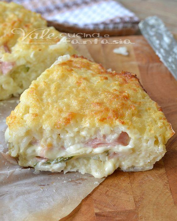 Rice cake with zucchini ham and cheese - Torta di riso con zucchine prosciutto e formaggio