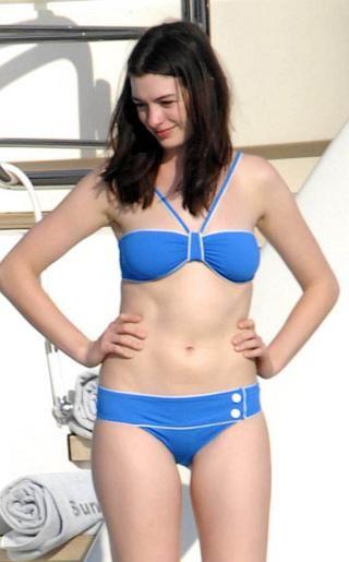 Anne Hathaway Wearing a Blue Bikini | Celebs