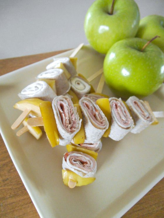 crepes on a stick with apples and ham