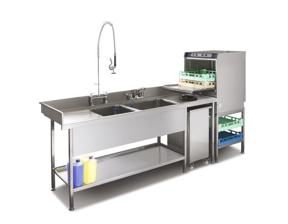 Pot wash sink and commercial dishwasher combination suitable for small ...