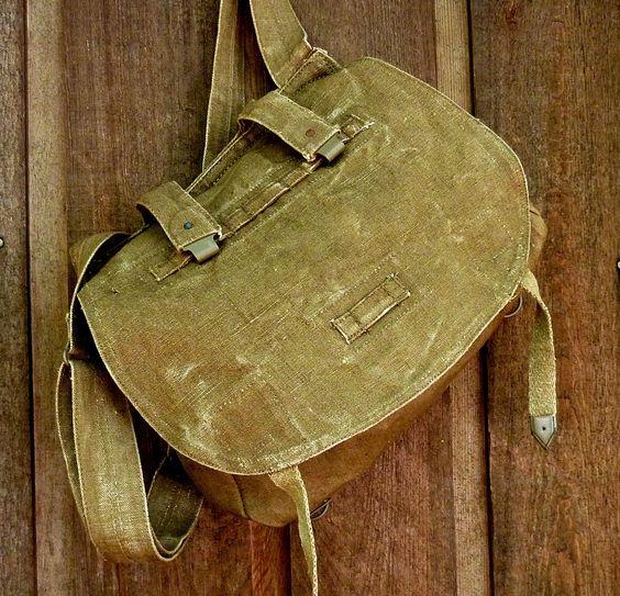 yesss please: Vintage Linen Czech Military Bag.. $56.00, via Etsy.