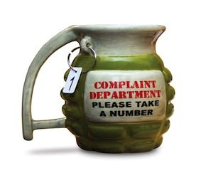 A ceramic hand grenade mug thats sure to attract attention. Your co workers will know to stop complaining when you drink from this funny mug. The hand grenade mug holds up to 12 ounces of your favorite hot beverage and is perfect for any office setting.