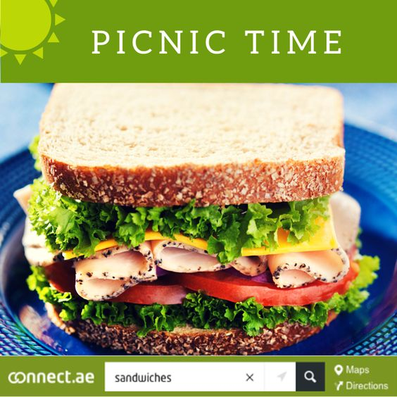 Mid-week blues? Why not plan a ‪#‎picnic‬ ‪#‎lunch‬ today? Get out and enjoy the beautiful weather. Search http://connect.ae/search:sandwiches for your nearest ‪#‎sandwich‬ shops. If you feel like it, share your experience / photos with us. We would love to hear from you. Have a great day!