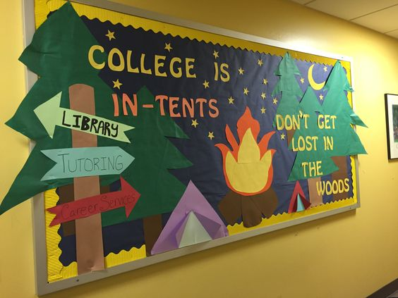 College is in-tents..don't get lost in the woods bulletin. New semester…