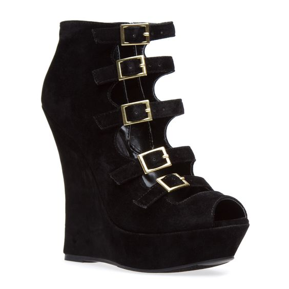 Black Strappy Wedge Bootie