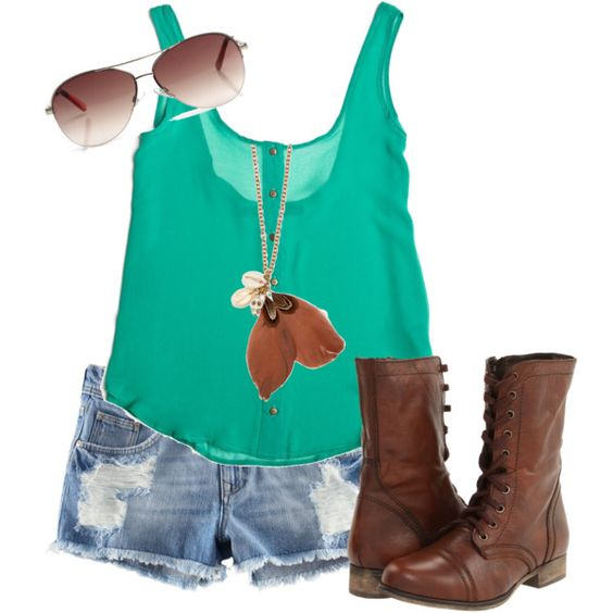 Casual   Summer, Cute vacation outfits and Combat boots