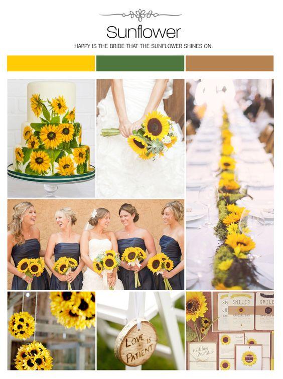 Sunflower wedding inspiration board, color palette, mood board via Weddings Illustrated