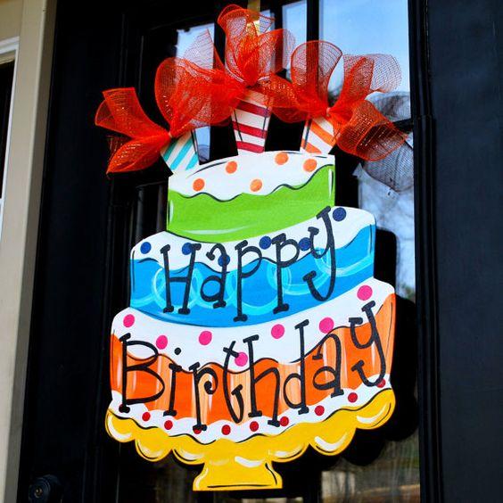 Happy Birthday Sign Birthday Door Decor Happy by LooLeighsCharm