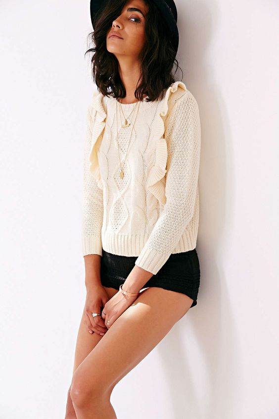 Lucca Couture Ruffle-Trim Sweater
