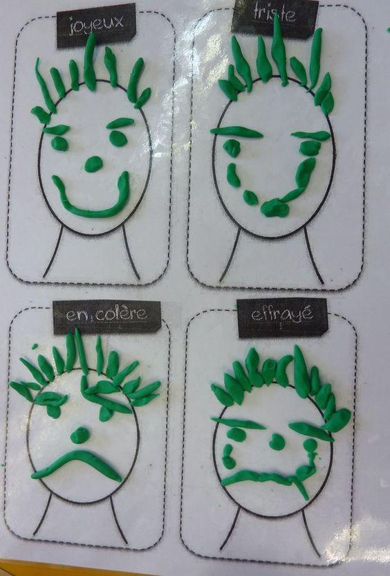 réaliser 4 expressions différentes en pâte à modeler: