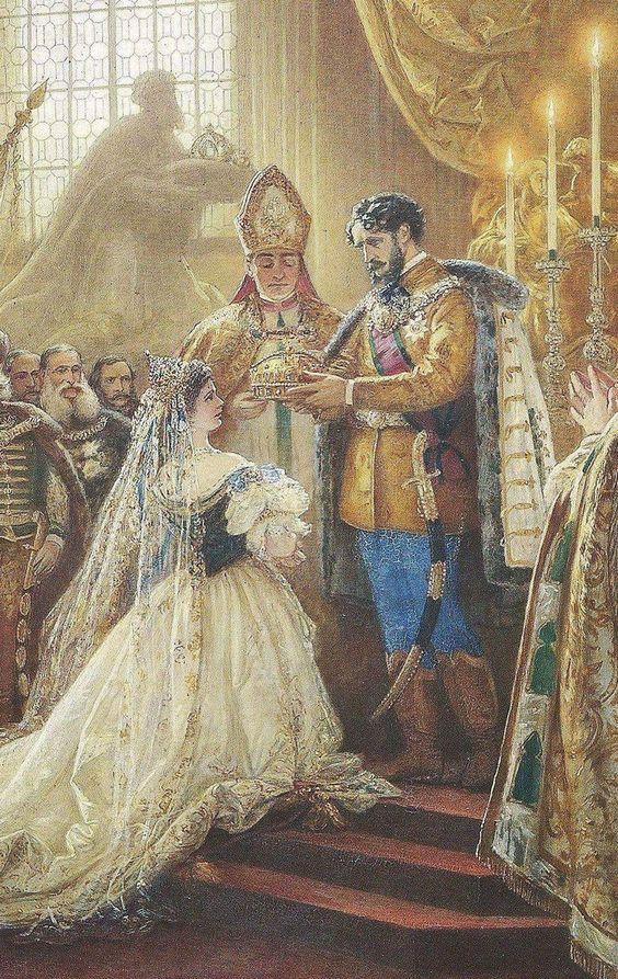 Elisabeth met Graaf Andrassy tijdens de kroning als koningin van Hongarije