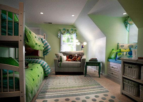 Green bedrooms twin boys and sibling on pinterest for Boy girl twin bedroom ideas