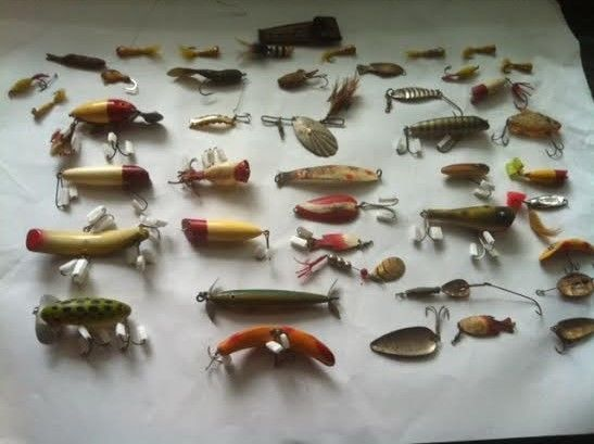 Old Vintage Fishing Lures Lot of over 40 Wooden, Flyfishing and Lead.