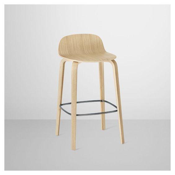 Chaise de bar chêne naturel assise 65cm VISU Muuto