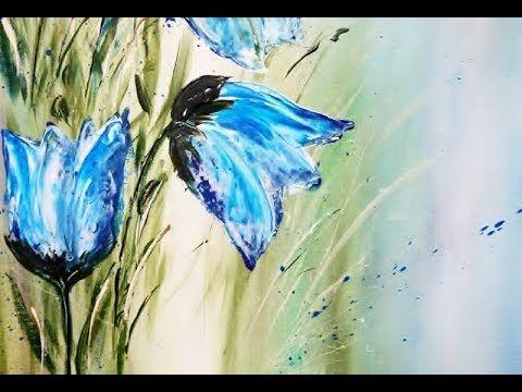 Acrylic Painting Flowers Acrylmalerei Blumen Fruhlingsgrusse
