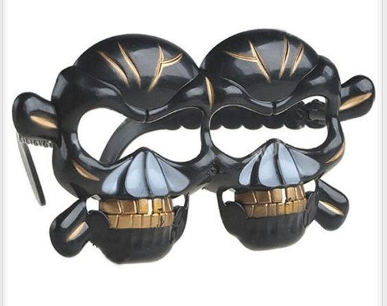 Black and Gold Skull glasses