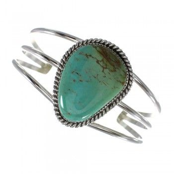 Native American Authentic Sterling Silver Kingman Turquoise Cuff Bracelet RX98511