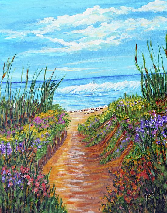 Ocean Beach Painting Impressionism Art Florida Beach Greeting Card For Sale By Kathy Symonds Ocean Painting Beach Painting Ocean Canvas