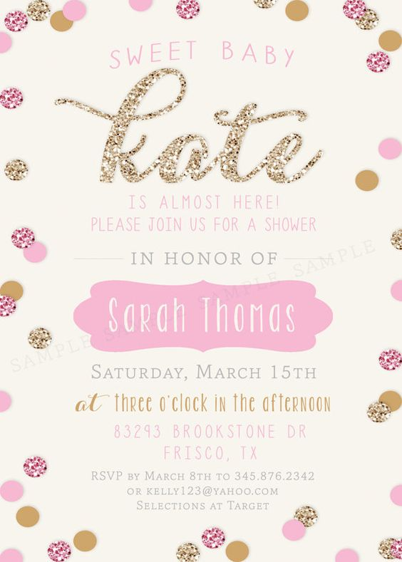 baby shower invitation gold and pink sparkle glitter invitation