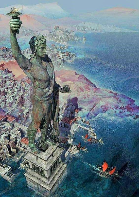 Colossus of Rhodes - one of the Seven Wonders of the World. A gigantic  statue of the sun god Helios that st… | Fantasy landscape, Fantasy city,  Wonders of the world