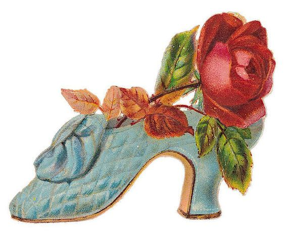 red rose in a blue Victorian shoe: