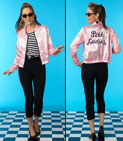 """Grease 'Pink Ladies' adult costume. You're gonna rule the school as the oh-so-cool pink lady. Set comes with a pink satin jacket, a striped top, leggings and belt. Add some accessories, a little """"pink attitude,"""" and you're set.  ~~ $80 Chasing Fireflies. Halloween 'Pink-O-Ween' Theme Party Decorations & Ideas"""
