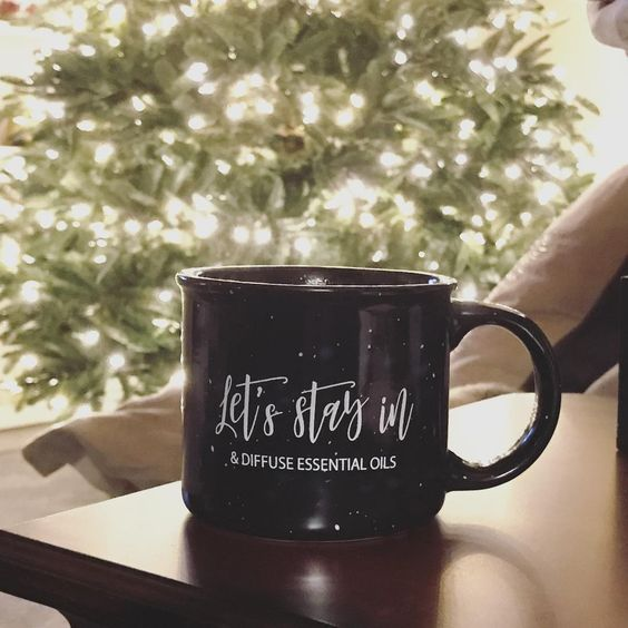 Perfect mug for cozying up by the fire. Let's Stay In & Diffuse Essential Oils Camper Mug. Available at BEKAI.CO