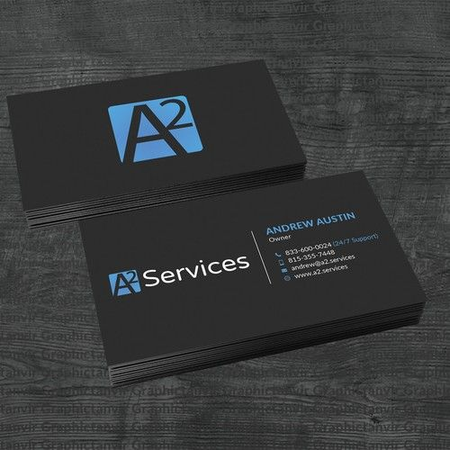 Tech Services Company Needs Modern Minimal Business Card A2 Services Offers Business To Business Minimal Business Card Technology Solutions Business Technology