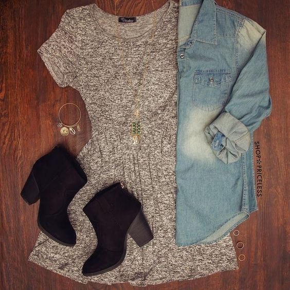 What a great find! - about this particular look: I think I have what I need already to knock off this look! Grey dress, chambray shirt, little black boots - make it mine with a cute infinity scarf and funky tights and this will be awesome for spring. :)
