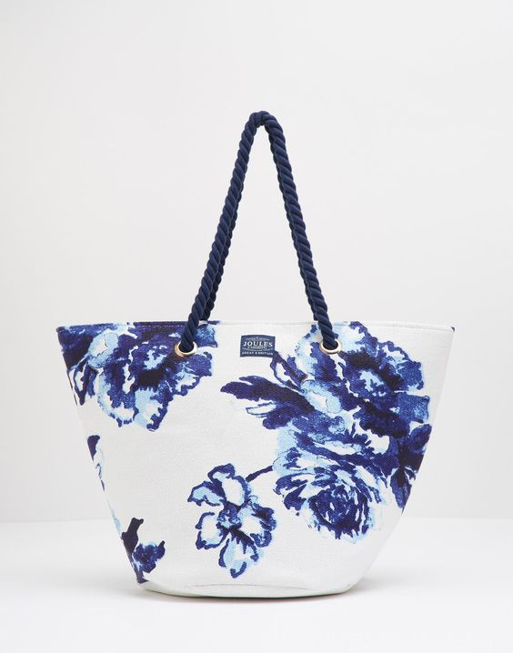 Summer Navy Rose Beach Bag , Size One Size | Joules UK