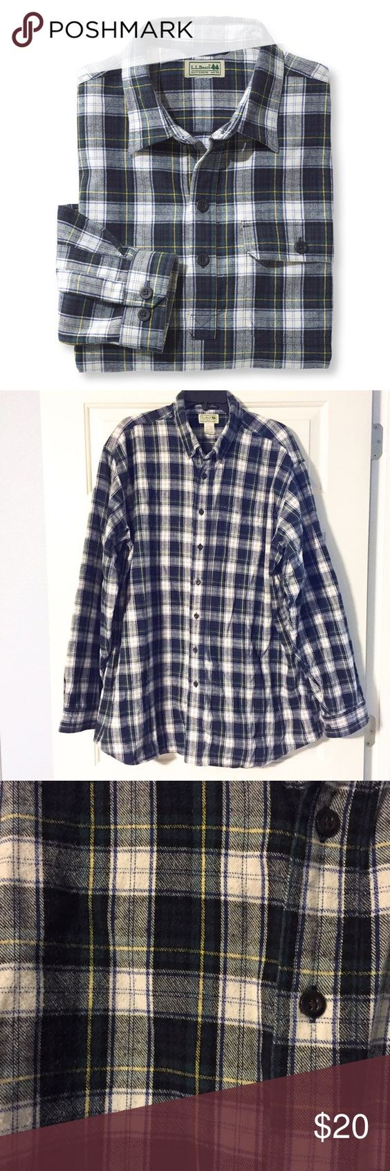 LL Bean Men's Flannel Button Down Great flannel shirt from LL Bean! Soft, warm and comfortable. Perfect for the upcoming cold weather! No rips, stains, or tears. Colors mix between green, blue, and a little bit of yellow. From their men's Tall line it is a men's 2XL Tall. L.L. Bean Shirts Casual Button Down Shirts